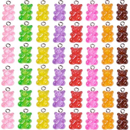Craftdady, 32 ciondoli a forma di orsetto gommoso in resina con vite a occhiello, per creare gioielli fai da te per bambine e ragazze