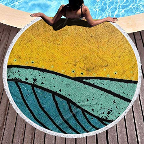 chenguang4422 Vintage Sea Wave On Tides Summer Beach Mats Beach Towel for Women&Girl Round Beach Towel Tropical 59 Inches