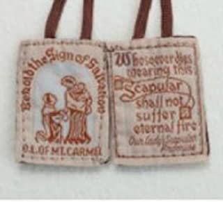 Traditional Brown Cloth Mt. Carmel Scapular. Cord Is 18 Inches in Length. Comes 4 to a Pack