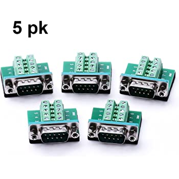 DB9 Male Connector Breakout Board RS232 Serial to DSUB Terminal Block Connector Signal Module 3 Pack