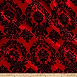 Ben Textiles Inc. Flocked Damask Taffetta Red/Black, Fabric by the Yard