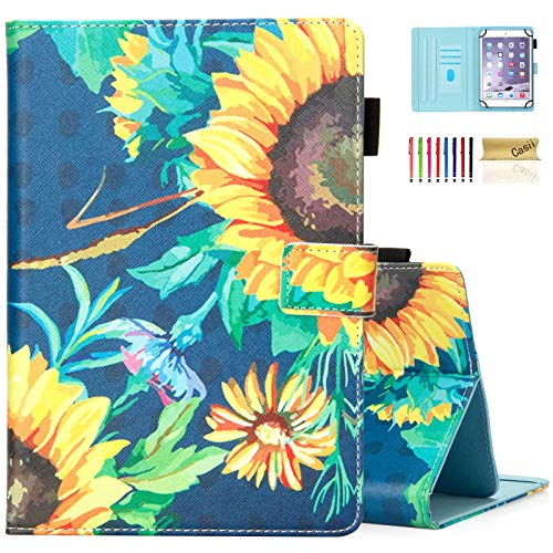 Case for 6.5-7.5 inch Tablet, Casii Ultra Lightweight Protective PU Leather Magnetic Folio Stand Cover for Galaxy Tab E 7.0/ Tab A 7.0/ Fi re 7.0 2015 2017 2019/ Huawei Mediapad T3 7.0 (Sunflower)