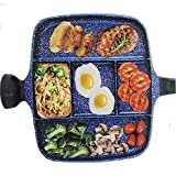 5 Section Nonstick Divided Pan, Five Compartment Grill Fry Sauté Pan Skillet for Steak Fish Entrees...
