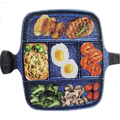 5 Section Nonstick Divided Pan, Five Compartment Grill Fry Sauté Pan Skillet for Steak Fish Entrees Vegetables and Side Dishes 5-in1 Section for Easy Breakfast and Dinner 14 Inch Blue Marble