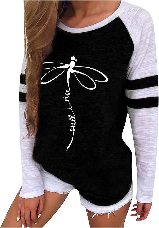 Women's Dragonflies Print Shirts Fashion Crewneck Long Sleeve Casual Blouse Splicing Trend Sweatshirt Pullover Tops