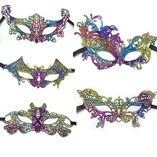 Baanuse 5Pcs Máscara Veneciana Mujer ata Fiesta de Carnaval de la Mascarada, Vistoso