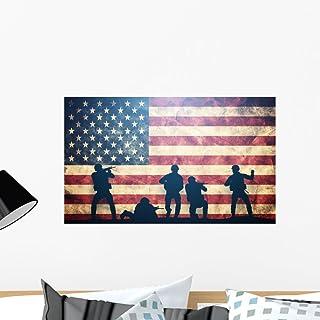 Wall Decal Sticker Bedroom Soldiers American Flag War Winning Patriots Boys Teenager Room 349b