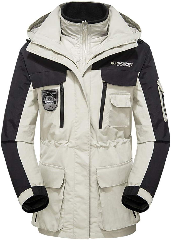 SSLW Outdoor Winter Waterproof Warm Mountaineering Jacket Cold-Proof Trench Coat,White
