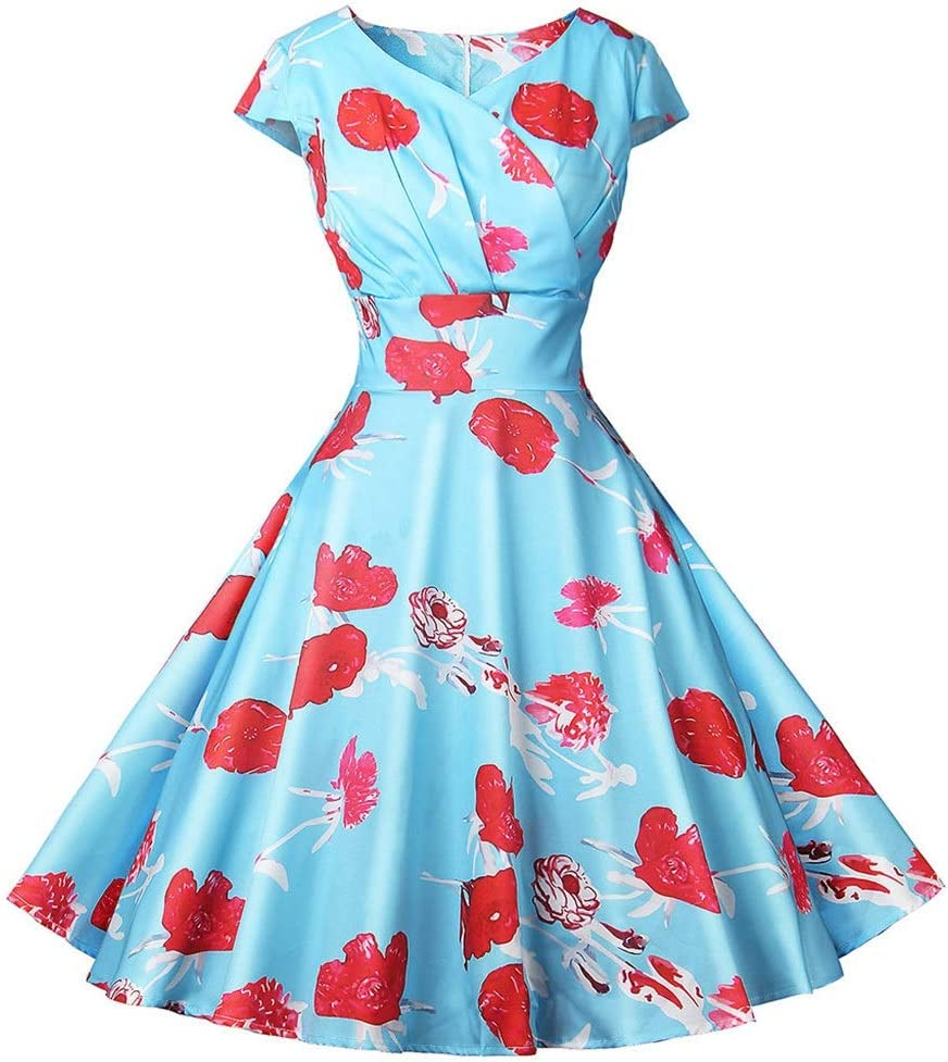 Dress,Women's Cocktail Special Campaign Formal Swing Dress Short Sleeve Brand new Dot