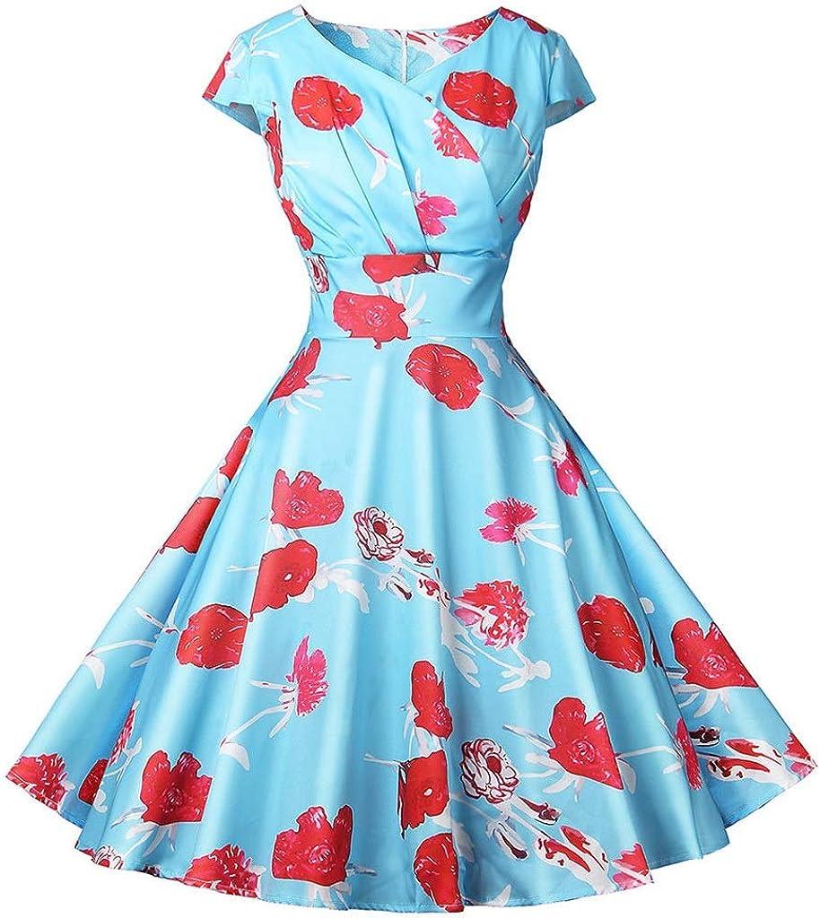Dress,Women's Cocktail Formal Swing Dress Short Sleeve Dot V-Neck Wrapped Chest Print Dress 11 Colors 5 Sizes Sleeveless Slim Business Pencil (Color : D, Size : S)