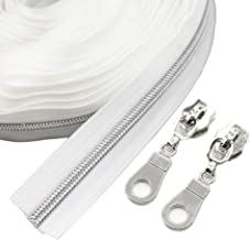 YaHoGa #5 Silver Metallic Nylon Coil Zippers by The Yard Bulk White 10 Yards with 25pcs Sliders for DIY Sewing Tailor Craft Bag (Silver White)