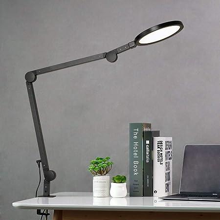 Lampe de Bureau EYOCEAN 12W Lampe d'Architecte, avec Pince, LED Protection des Yeux, Atténuation et Température de Couleur Réglable, Contrôle Tactile, Fonction de Mémoire et de Chronométrage