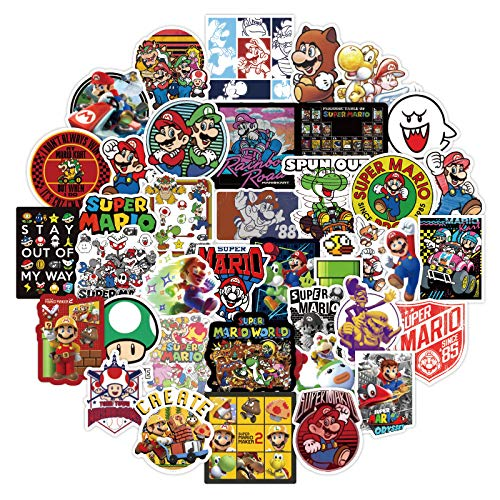 DSSJ 50Pcs Su-per Mario Cartoon Waterproof Vinyl Sticker Notebook Scooter Suitcase Sticker Is Also Suitable For Guitar Helmet DIY Styling Home Decoration Is A Gift For Kids, Girls and Teenagers