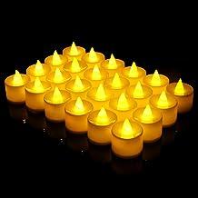 Mobxpar LED kaarsen, 24 LED vlamloze Tealights flikkerende vlam theelichten flikkerende elektrische kaars lichten incl. ba...