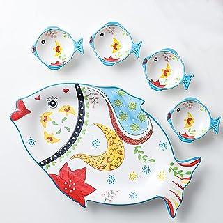 Ceramic Plates Set, 5 Pcs Dinner Plates 1 Flower Copywriting Fish Plate and 4 Small Fish Plate Kitchen Porcelain Dish Sala...