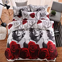 wuy Fashion 3D Marilyn Monroe Bedding Sets Queen Bed Sheet Pillow Cases Duvet Cover (Size: Queen 3pcs)