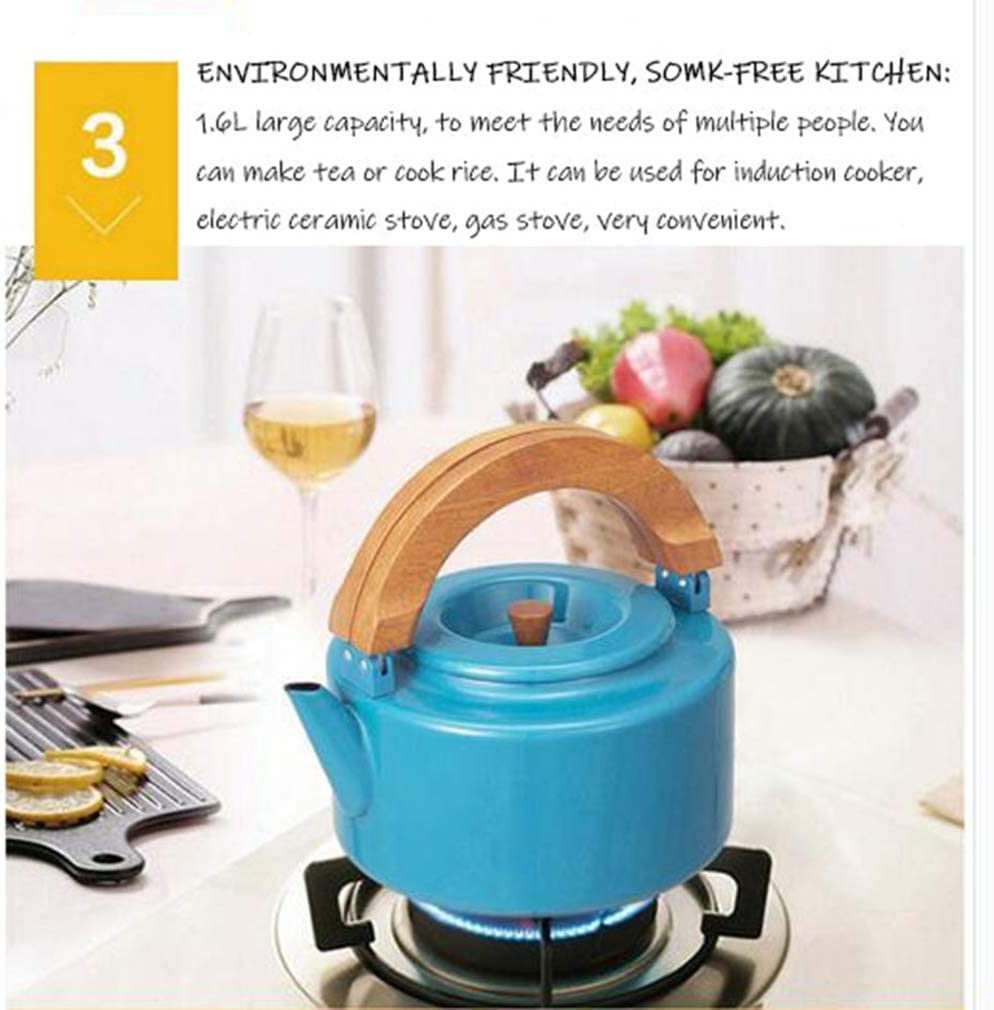 Fornuis Waterkoker, 2,3-liter Waterkoker met grote capaciteit Roestvrijstalen waterkoker met houten handvat Multifunctioneel keukengerei voor Bo Blue