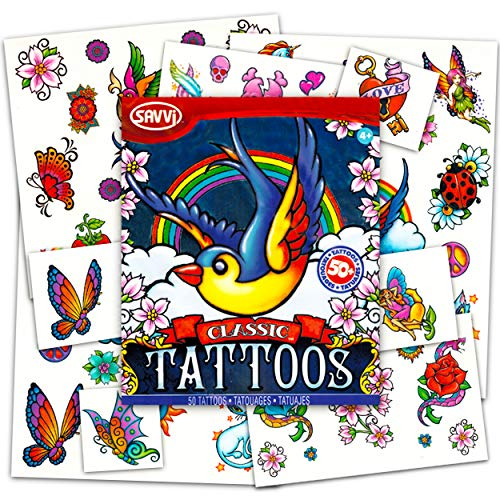 American Traditional Temporary Tattoos for Women Men Adults -- 50 Bold Classic Tattoos with Vintage Designs