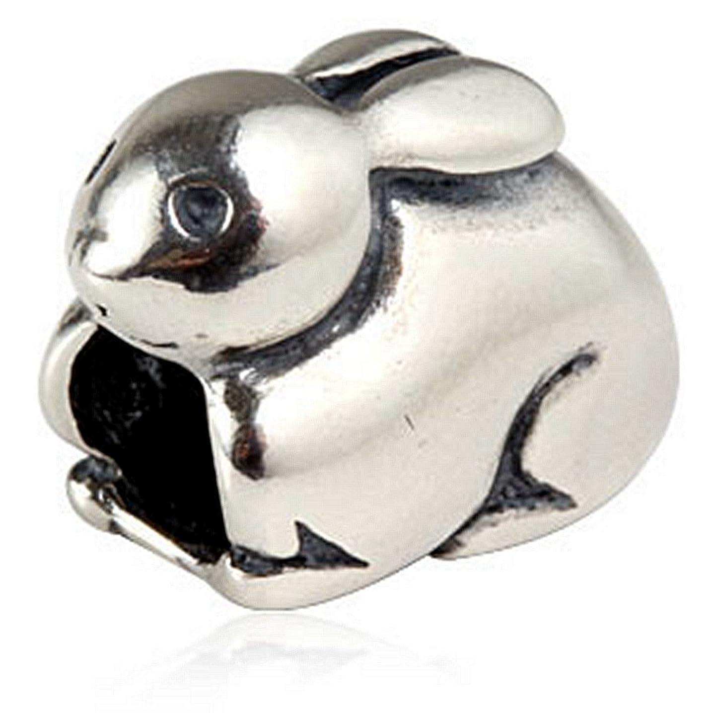 Lovely Rabbit Bunny Charm 925 Sterling Silver Animal Bead fit DIY Charm Bracelet Jewelry