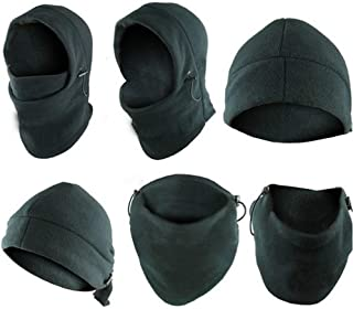 Fashion Sutra 6-in-1 Neck Warmer Hoods Ski Motor Hat Thermal Balaclava Scarf Fleece Face Cs Mask Black One Size Fits All