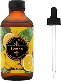 MASEN Aromatherapy Lemon Essential Oil-100% Pure.herapeutic Grade Oils For Difusser With Premium Glass Dropper- 4 fl oz/118ml