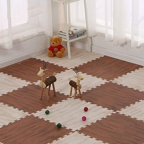 LFY Holzmaserung Schaumstoffmatte, Splei  kriechende Matte Boden Schlafzimmer Home Puzzle Matten (Farbe   A, Größe   16 Piece)