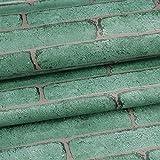 Papel pintado de piedra, papel pintado autoadhesivo, diseño de ladrillos verdes, cemento de pared, pelar y pegar para decoración de pared