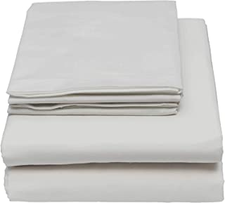 500-Thread Count 100% Egyptian Cotton Sheet Light Grey Queen-Sheets Set, 4-Piece Long-staple Combed Cotton Sheets For Bed, Breathable, Soft & Silky Sateen Weave Fits Mattress Upto 18'' Deep Pocket