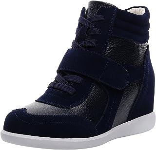 rismart Donna Tacco a Zeppa Hook&Loop Brogue Alto Cima Confortevole Elegante Sneaker Scarpe