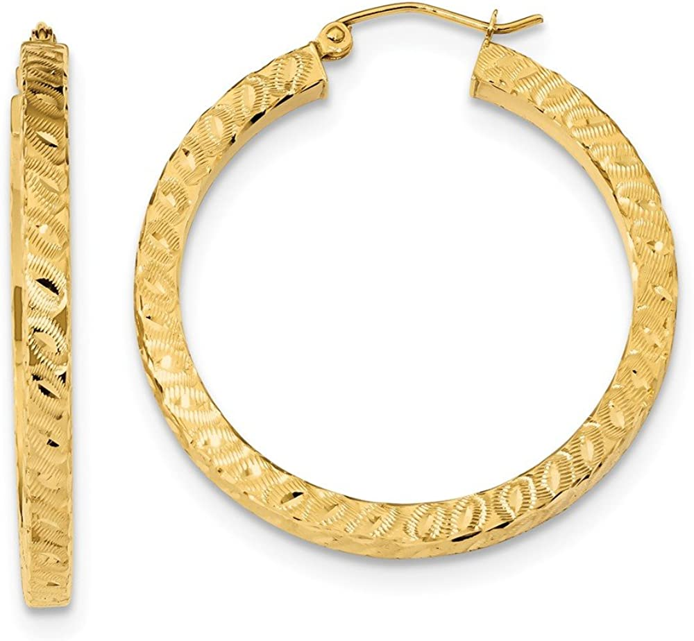14K Yellow Gold 67% OFF of fixed price Excellent Satin D Square Hoop Tube C Earrings