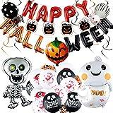 Décorations de Ballons d'Halloween, Halloween Ballon Décoration, Bannière de Ballon Happy Halloween, Ballons de Citrouille Chauve-Souris Fantôme, Décoration pour Halloween Scène de Fête (Type2)