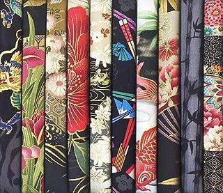 10 Black Asian Japanese Fat Quarter Quilt Fabric Bundle #31 (2 1/2 Yards Total)