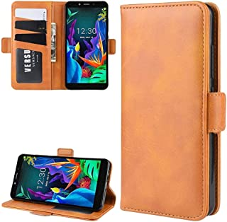 For LG K20 (2019) Wallet Stand Leather Cell Phone Case with Wallet & Holder & Card Slots New (Black) Hopezs (Color : Yellow)