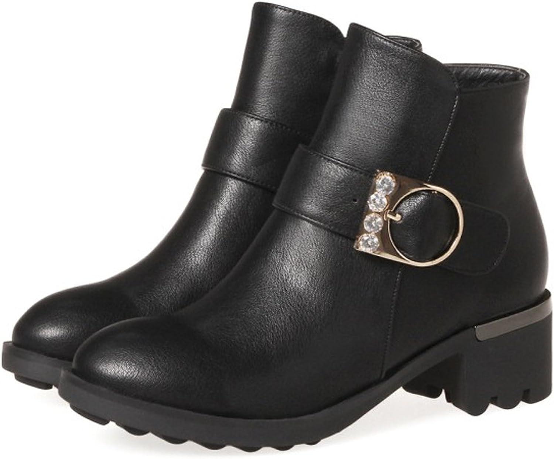 QZUnique Women Platform Low Chunky Heel Round Toe Ankle Booties Zipper Buckle Martin Boots