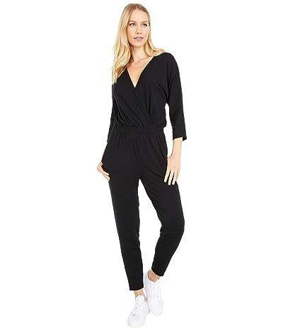 bobi Los Angeles Long Sleeve Surplice Jumpsuit in Draped Modal Jersey (Black) Women