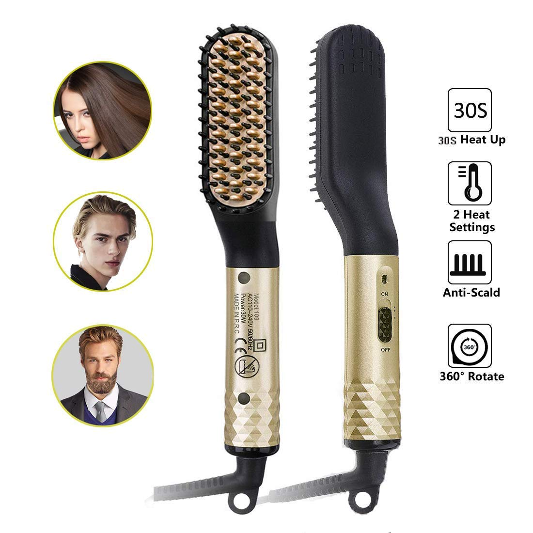 Sitsugger Beard Heated Straightener Brush for Men Women Straightener Hair Comb 2 In 1 Multifunctional Portable Ion Electric Hot Comb for Home and Travel Universal Voltage Beard Hair Comb-Gold