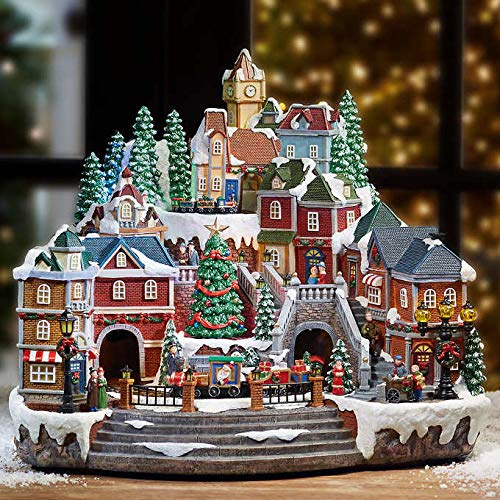 Animated LED Winter Train Village With Music