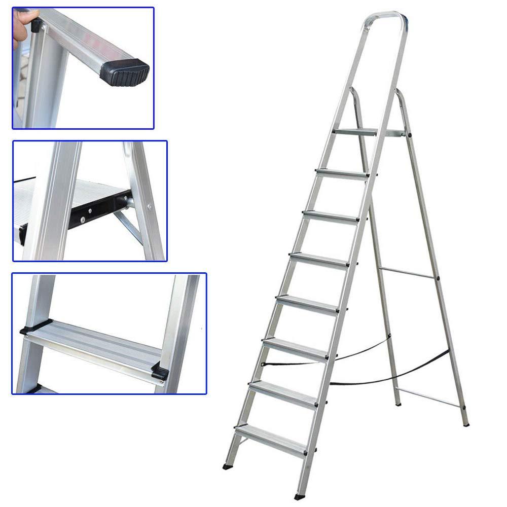 Escalera de aluminio con 8 peldaños antideslizantes, ligera, plegable, portátil, antideslizante, para el hogar, oficina, jardín, cocina: Amazon.es: Bricolaje y herramientas