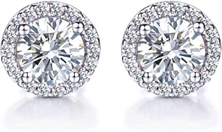 925 Sterling Silver Round Cubic Zirconia Halo Stud Earrings for Women