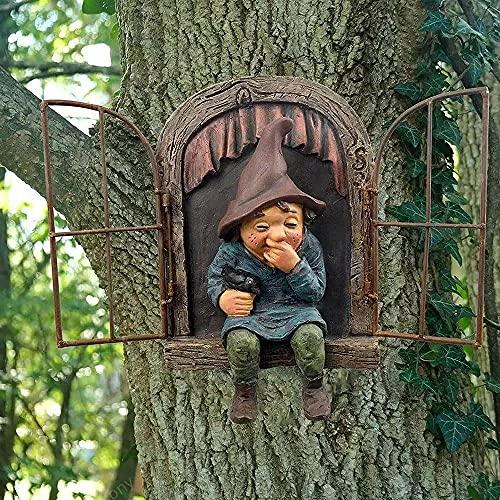 Estatua de Gnomo de Jardín Colgador Emergente de Árbol de Elfo Escultura de Árbol de Fantasía Decoración de Jardín Decoración de Patio de Mirilla de Jardín