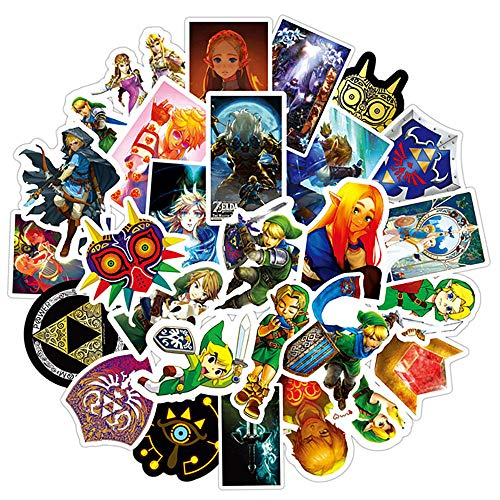 The Legend of Zelda Ocarina of Time Water Bottle Stickers Anime Popular Game Decal for Laptop Skateboard Cup Tumbler Bike Car Guitar,Trendy Waterproof Vinyl DIY Decorations,Gift for Kids Teens