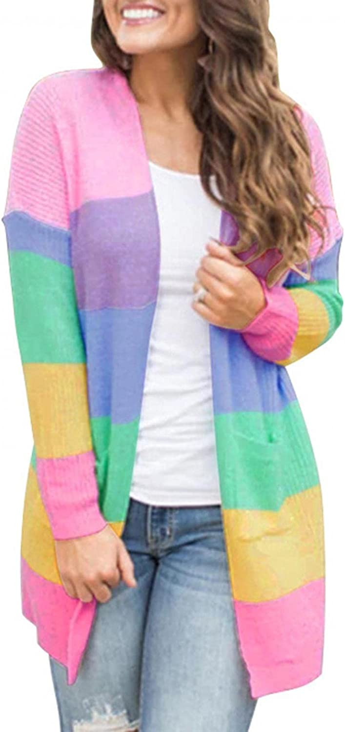 Cardigans for Women's Open Front Pockets Sweaters Casual Lightweight Long Sleeve Color Block Cardigan Outerwear