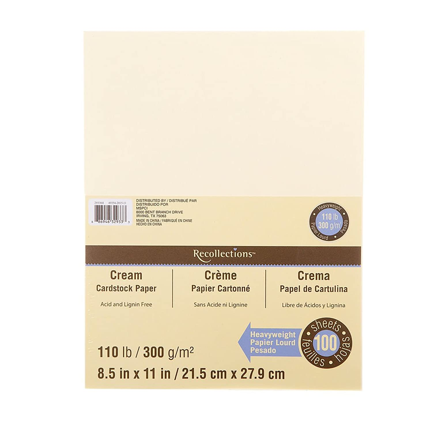 Recollections Cream Heavyweight Cardstock Paper, 8.5