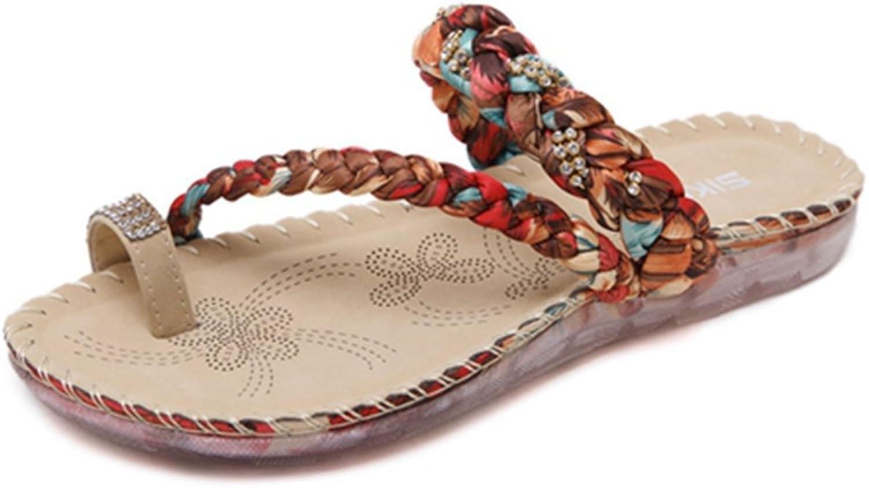 Zarbrina Women Rhinestone Thong Slides Sandals Bohemian Ring Toe Flat Beach shoes Low Heel Elastic Flip Flop