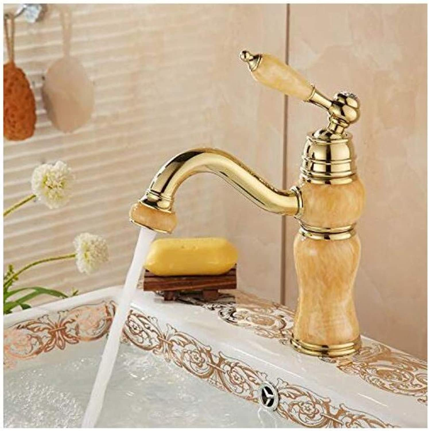 Modern Plated Kitchen Bathroom Faucet Full Copper Jade Faucet 360 Degree redating Hot and Cold Water Faucet