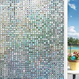 LEMON CLOUD Mosaic Window Film Privacy Frosted Stained Glass Rainbow Static Cling Decorative No Glue Removable Self Adhesive Anti UV Window Sticker for Glass (17.5' x 78.7', 3D Mosaic)