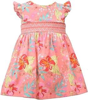 Bonnie Jean Girl's Dress - Smocked Pink Floral Flutter Sleeve Dress for Baby, Toddler and Little Girls