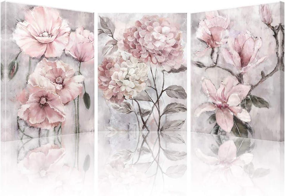 dise/ño de flores grises impresi/ón floral para ba/ño dormitorio sala de estar SUMGAR Lienzo r/ústico para pared con cita de flores juntas 30 x 40 cm de algod/ón