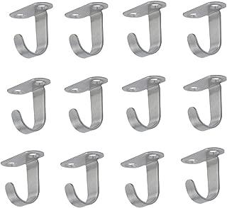 XMHF 12 Pack Stainless Steel Screws Mount Ceiling Hooks, Under-Shelf Coat Hook, Towel Robe Clothes Hook Hanger for Bathroom Kitchen Cabinet