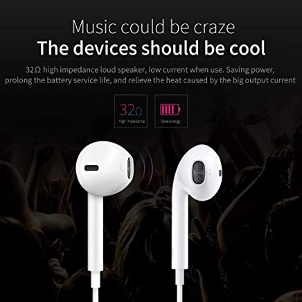 Earphone, with Microphone Earbuds Stereo Headphones and Noise Isolating Headset for Smartphones PC Laptop DJ (White)